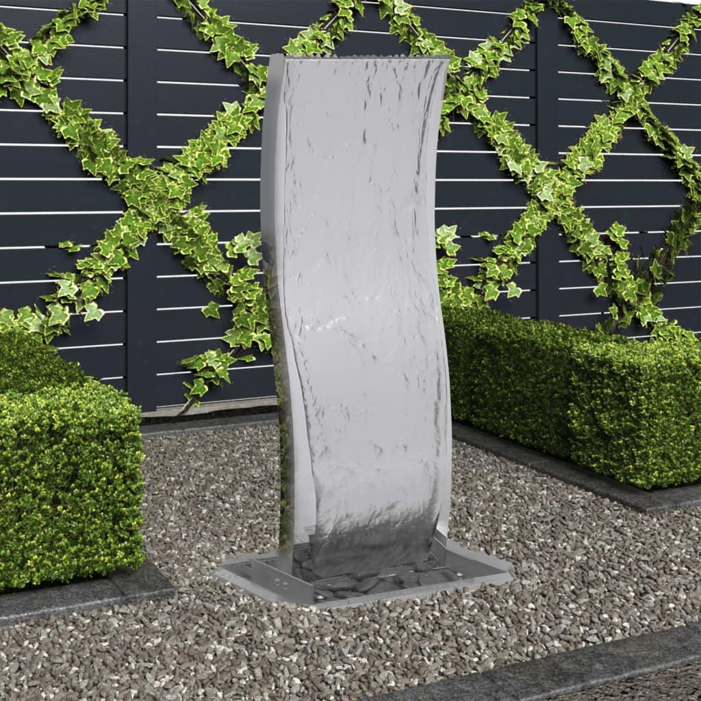 vidaXL Fântână de grădină cu pompă, 90 cm, oțel inoxidabil, curbat poza vidaxl.ro