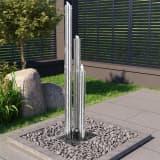 vidaXL Tuinfontein 48x34x153 cm roestvrij staal zilverkleurig