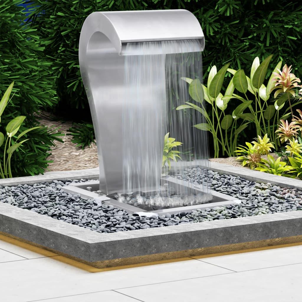 vidaXL Fântână de grădină, argintiu, 52,4x34,2x82 cm, oțel inoxidabil poza vidaxl.ro