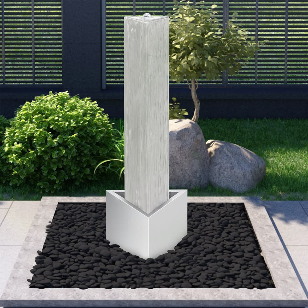 vidaXL Fântână de grădină, argintiu, 37,7x32,6x110 cm, oțel inoxidabil poza vidaxl.ro
