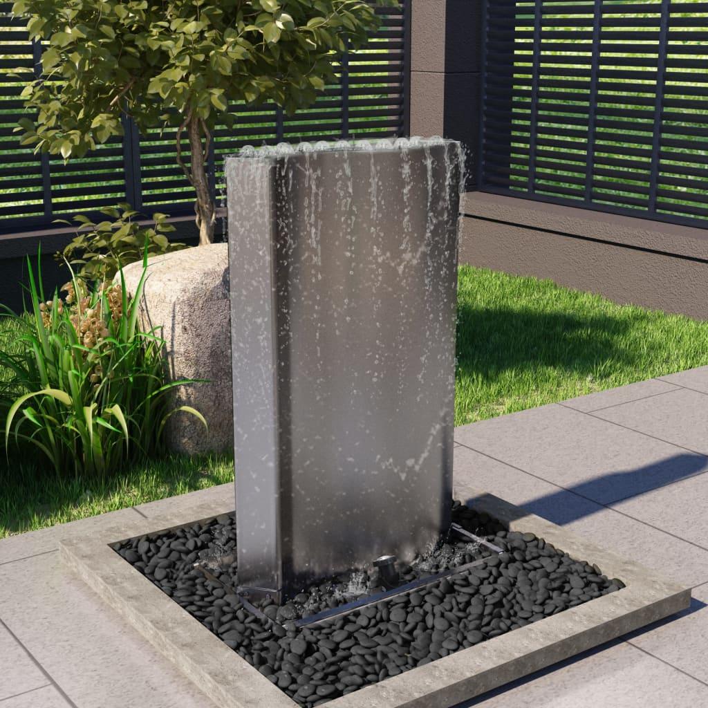 vidaXL Fântână de grădină, argintiu, 60,2x37x122,1 cm, oțel inoxidabil poza vidaxl.ro