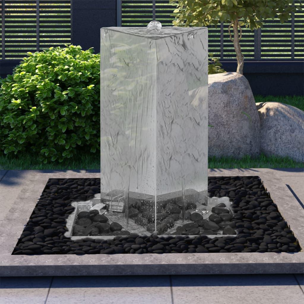 vidaXL Fântână de grădină cu pompă 76 cm oțel inoxidabil triunghiular poza vidaxl.ro