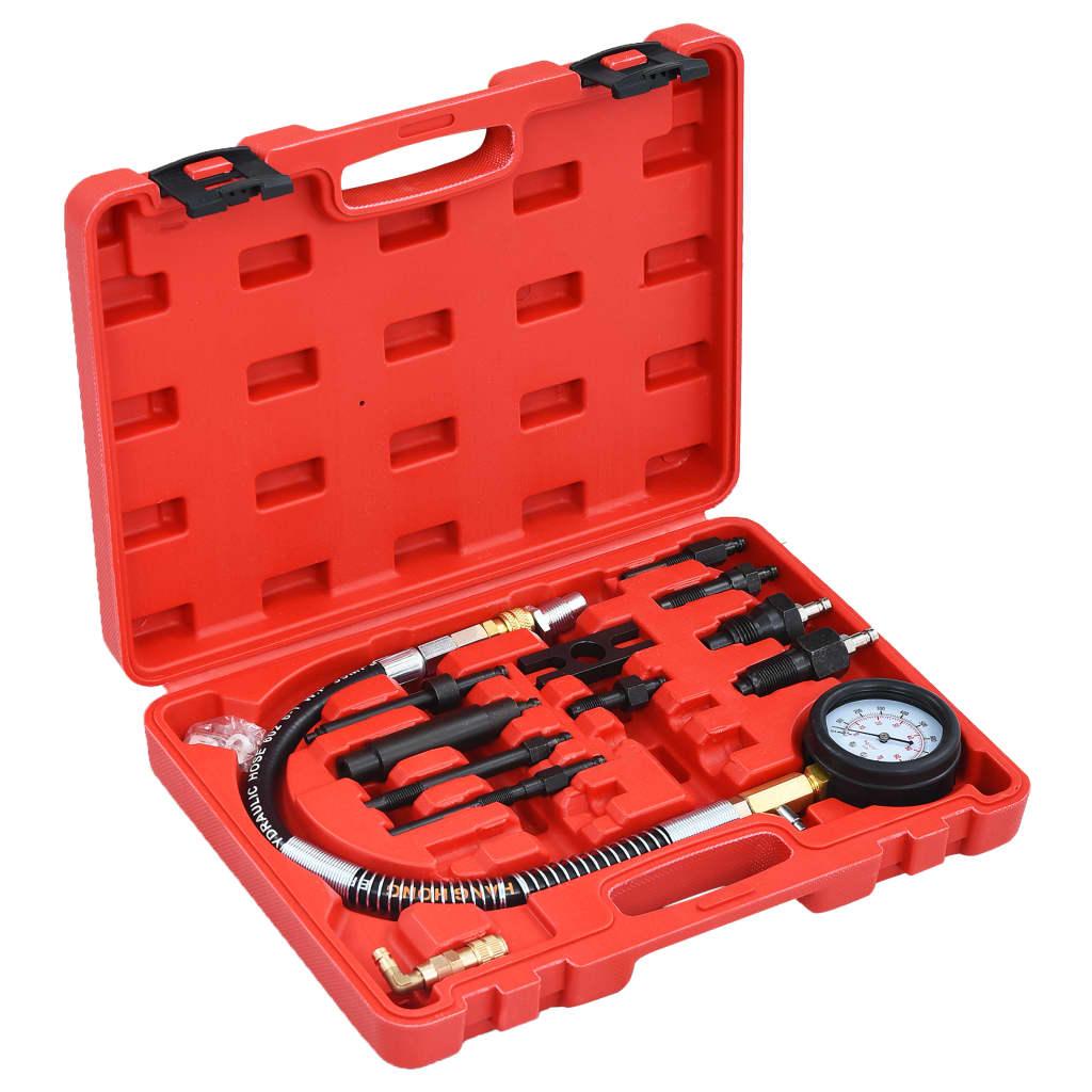 vidaXL Set tester compresie motor Diesel cu manometru,12 piese imagine vidaxl.ro