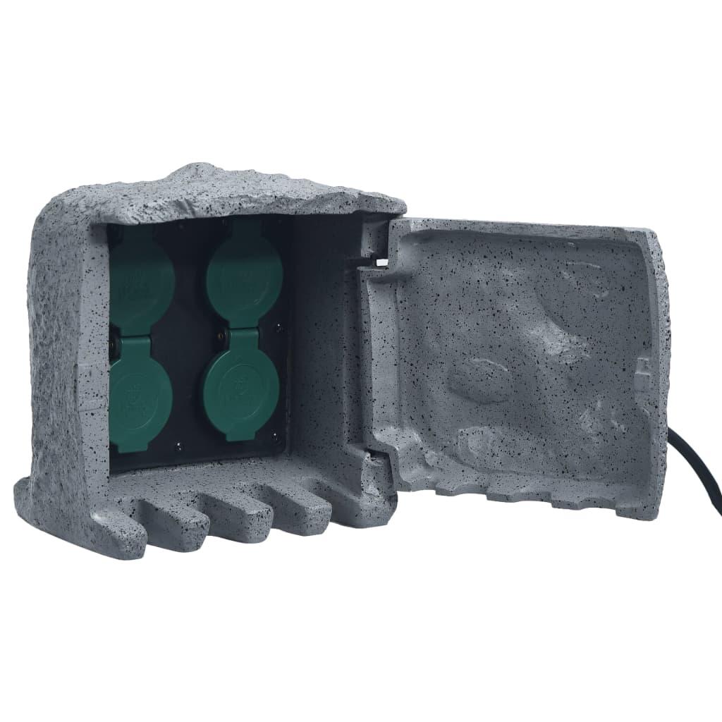 vidaXL Buitenstopcontact 4 ingangen waterbestendig grijs