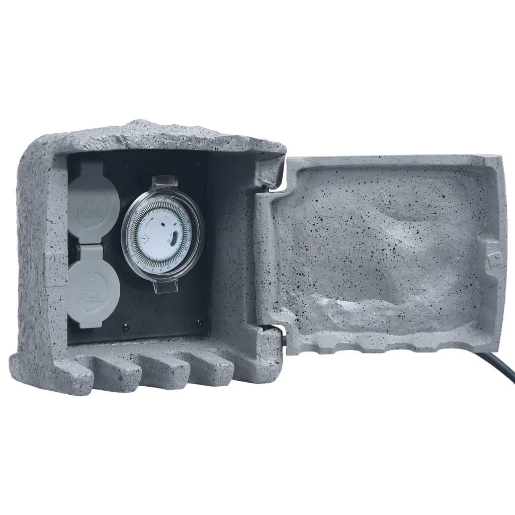 vidaXL Buitenstopcontact 2 ingangen met timer polyresin grijs