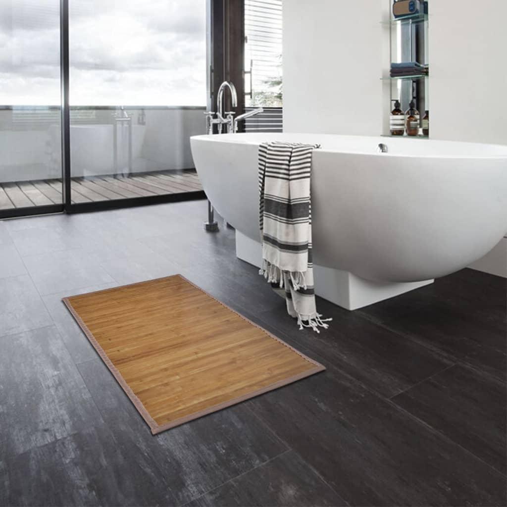 vidaXL Bambusové koupelnové předložky 4 ks 60 x 90 cm hnědé