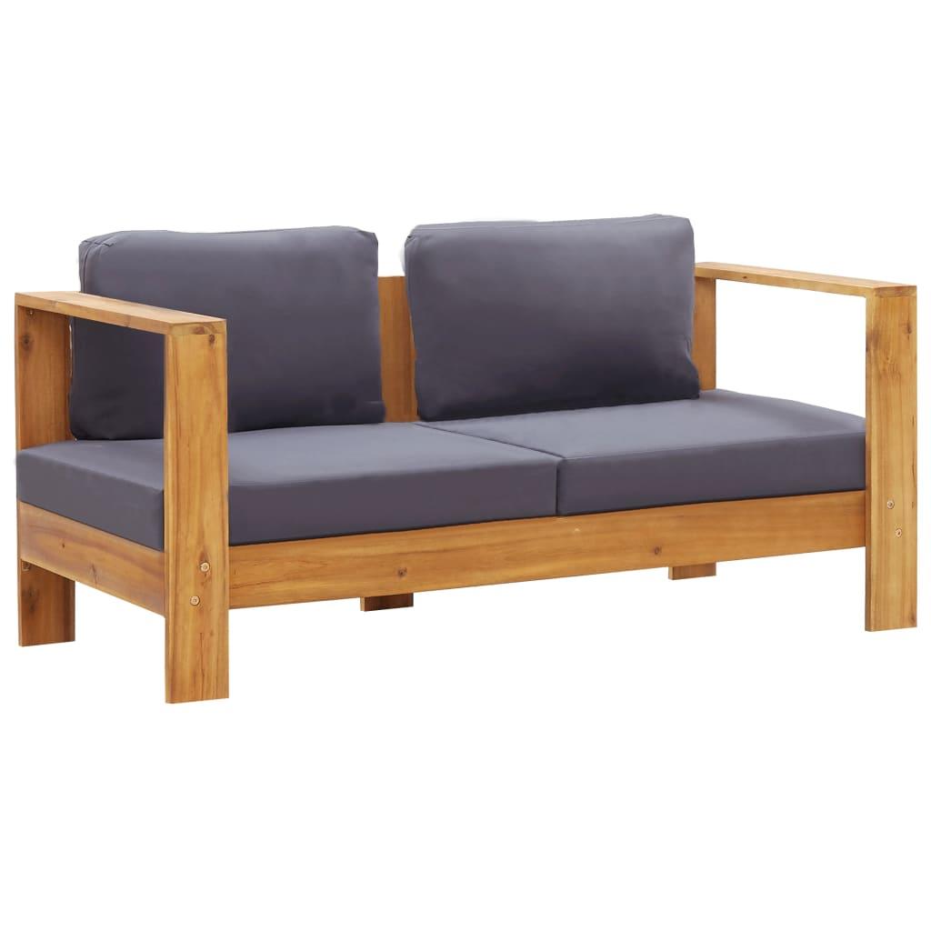 vidaXL Bancă de grădină cu perne, gri, 140 cm, lemn masiv de acacia imagine vidaxl.ro