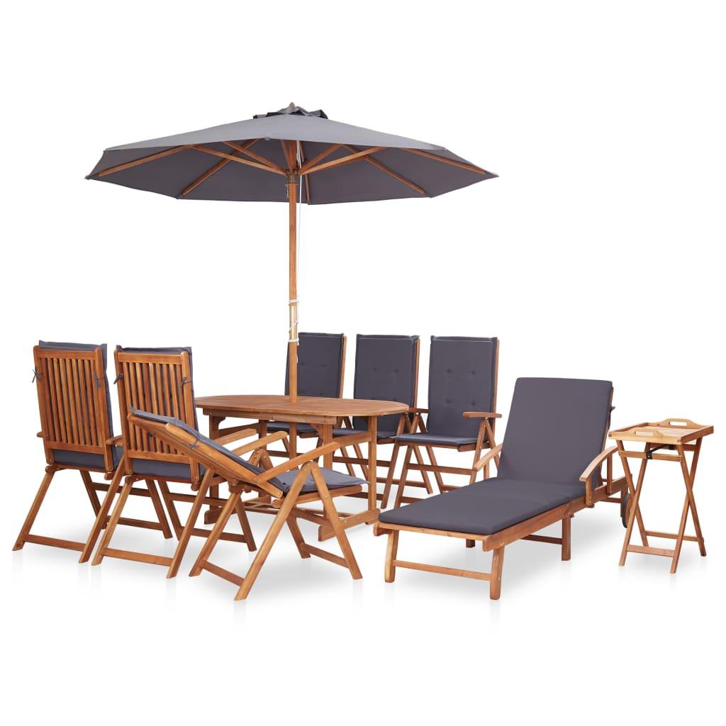 vidaXL Set mobilier exterior cu perne gri, 10 piese, lemn masiv acacia poza 2021 vidaXL
