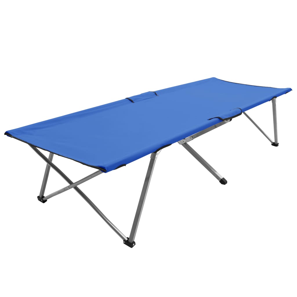 vidaXL Pat de camping, 206 x 75 x 45 cm, albastru, XXL poza vidaxl.ro