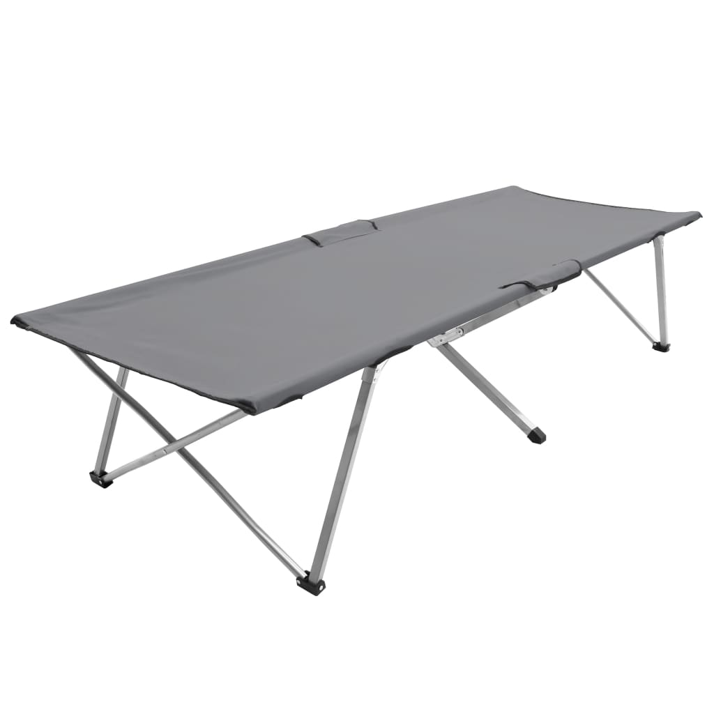 vidaXL Pat de camping, gri, 206 x 75 x 45 cm poza 2021 vidaXL