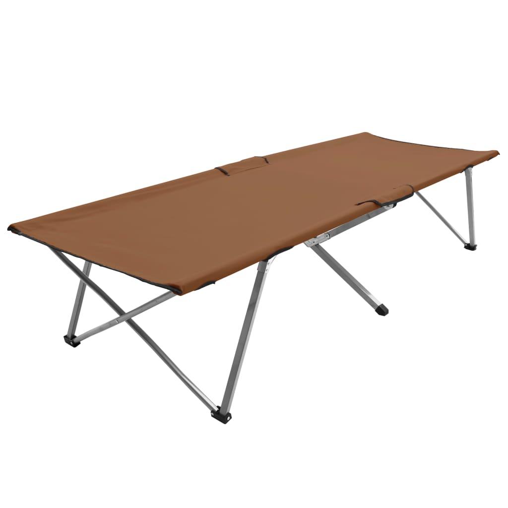 vidaXL Pat de camping, 206 x 75 x 45 cm, maro, XXL poza vidaxl.ro