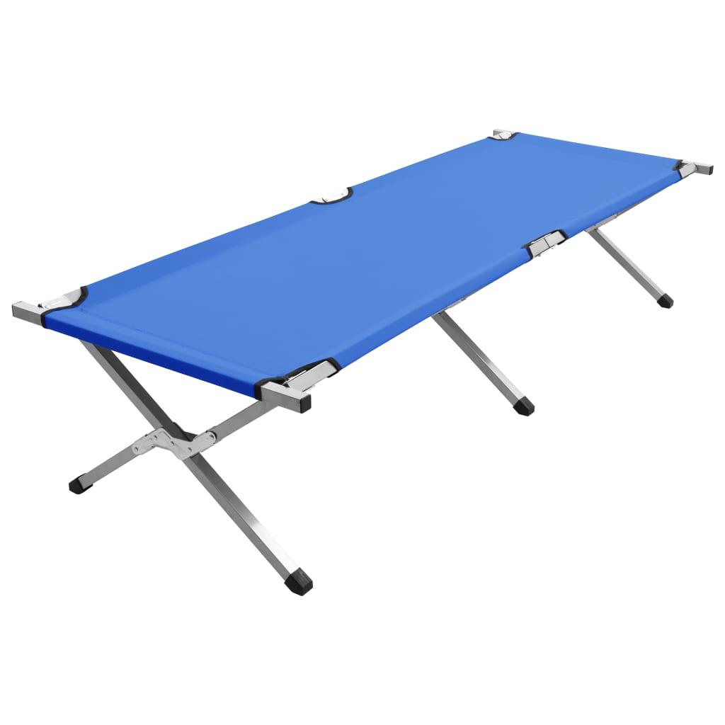 vidaXL Pat de camping, albastru, 190 x 74 x 47 cm imagine vidaxl.ro