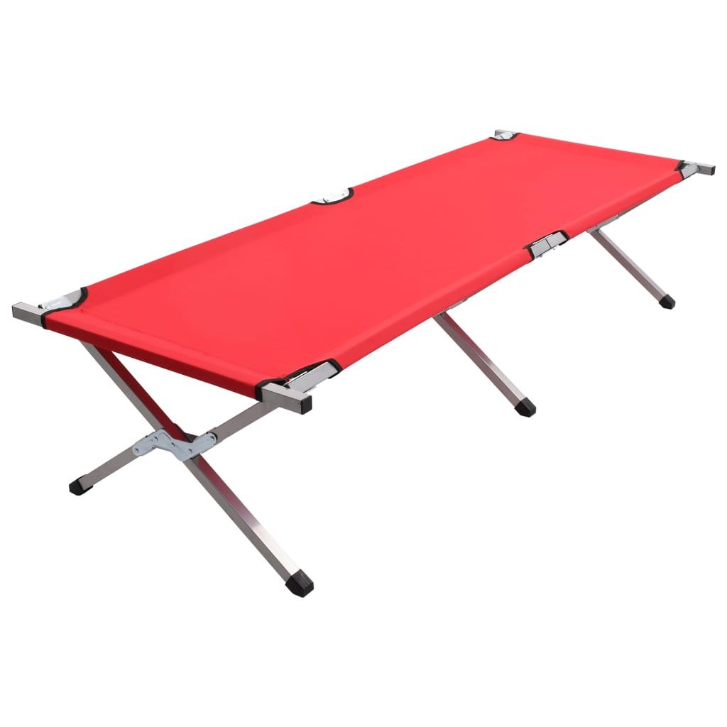 vidaXL Pat de camping, roșu, 190 x 74 x 47 cm, XL poza 2021 vidaXL