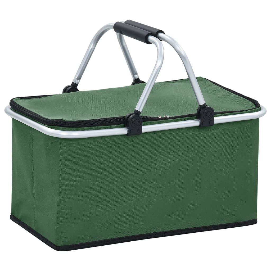 Skádací chladící taška zelená 46 x 27 x 23 cm hliník