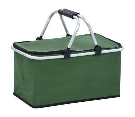 vidaXL Hopfällbar kylväska grön 46x27x23 cm aluminium