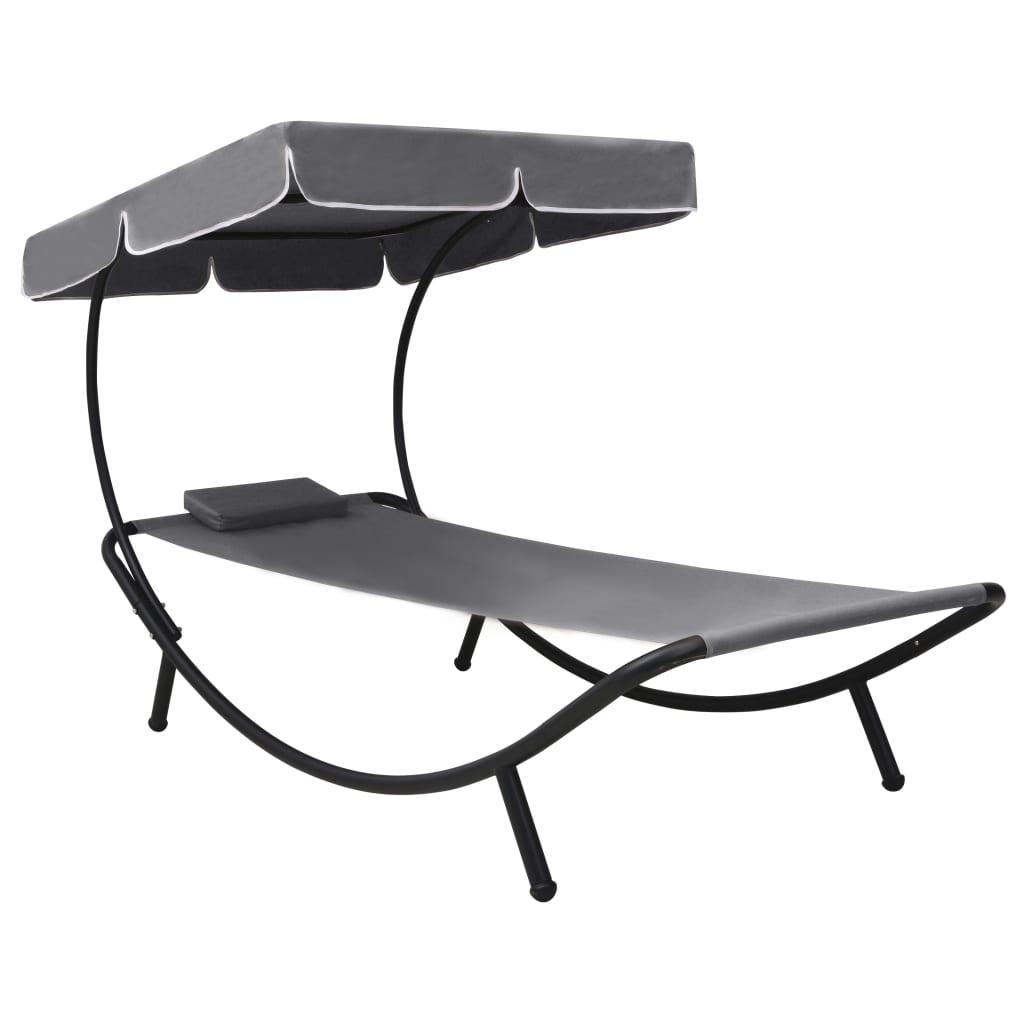 vidaXL Zahradní postel s baldachýnem a polštářem šedá