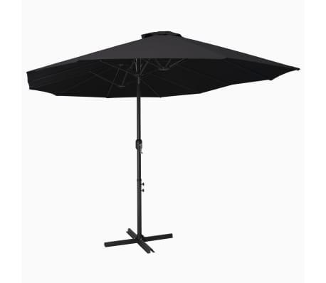 vidaXL Parasol met aluminium paal 460x270 cm zwart
