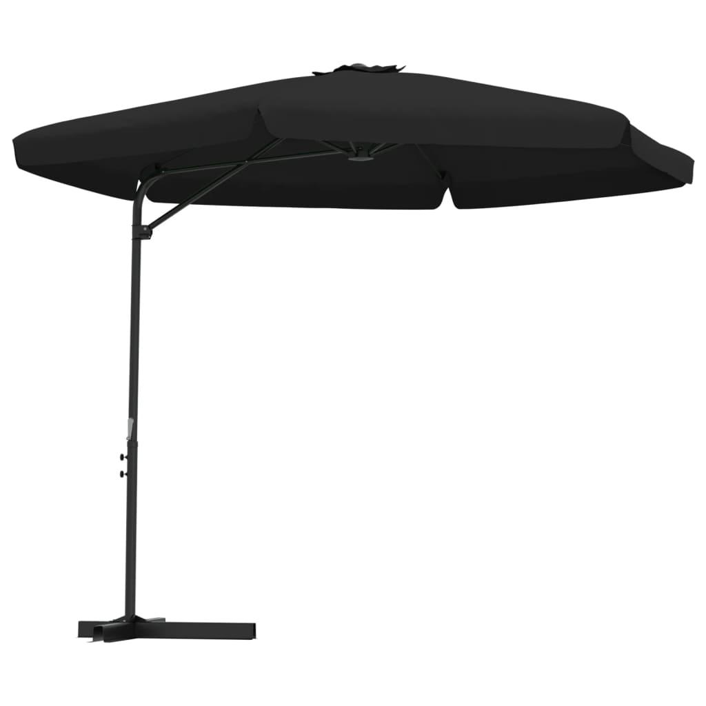 Parasol met stalen paal 300 cm zwart