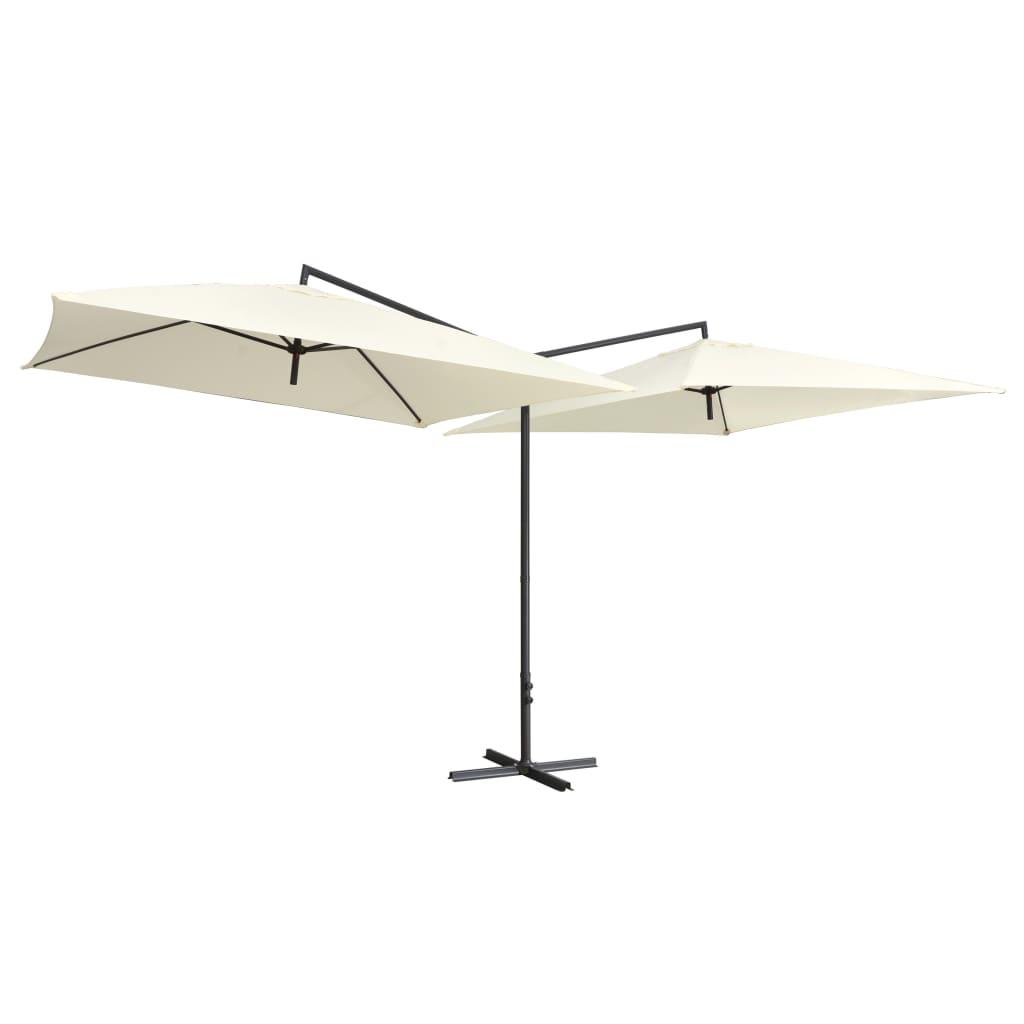 99947321 Doppelsonnenschirm mit Stahlmast 250×250 cm Sandweiß