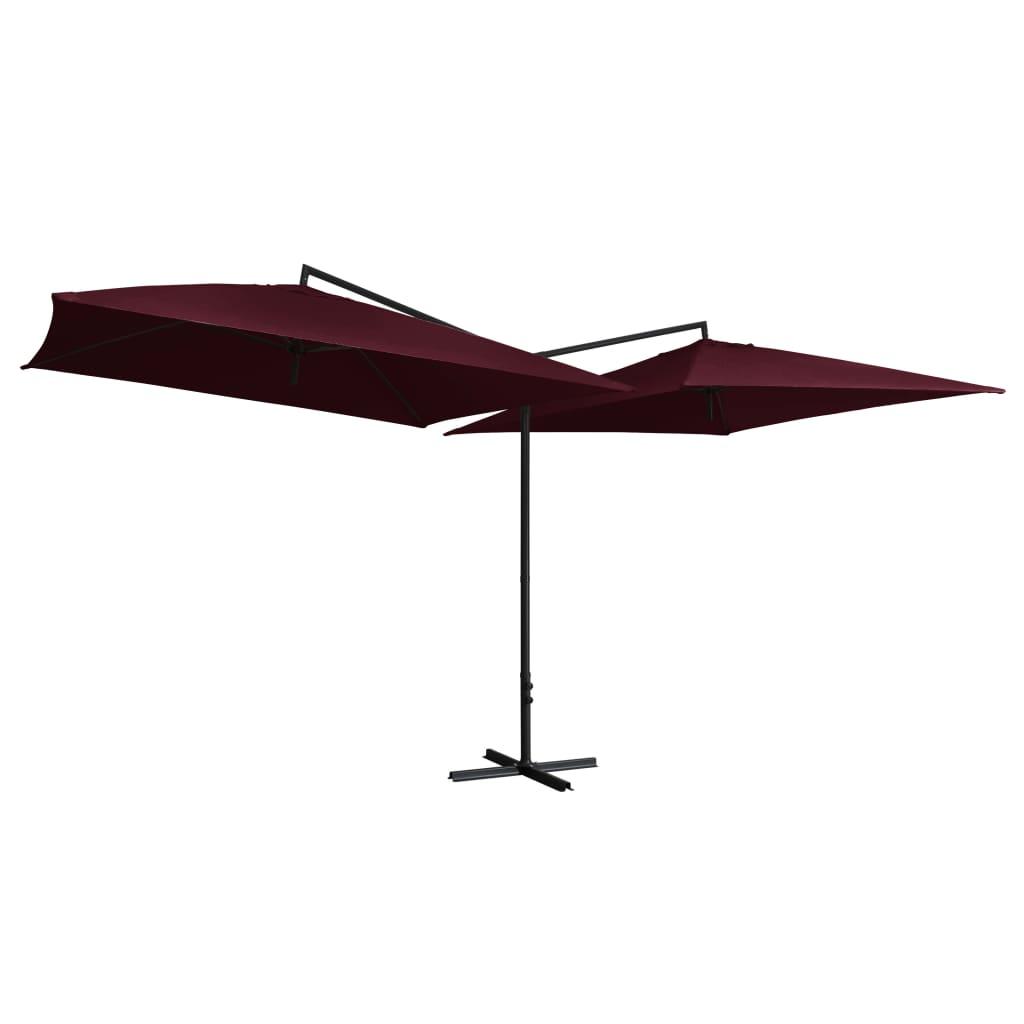 vidaXL Umbrelă de soare dublă, stâlp din oțel, roșu bordo, 250x250 cm poza vidaxl.ro