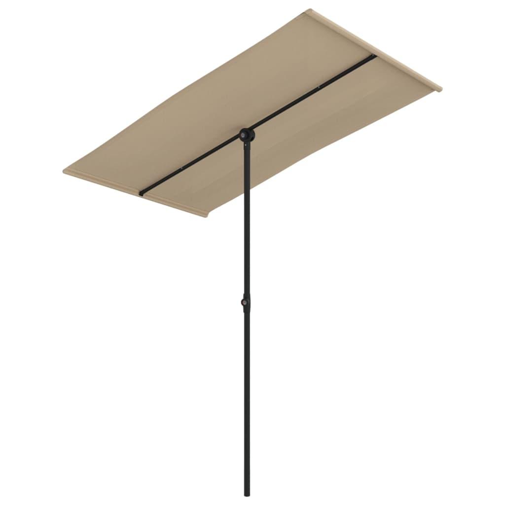vidaXL Umbrelă soare de exterior, stâlp aluminiu, gri taupe 180x130 cm imagine vidaxl.ro
