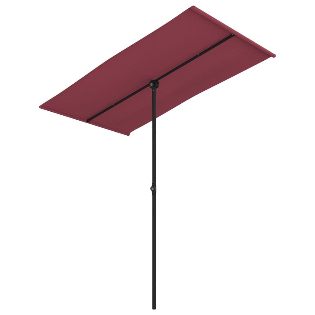 <ul><li>Farbe: Bordeauxrot</li><li>Material: Stoff (100 % Polyester), Aluminium</li><li>Gesamtabmessungen: 180 x 130 x 215 cm (L x B x H)</li><li>Durchmesser des unteren Masts: 28 mm</li><li>Durchmesser des mittleren Masts: 28 mm</li><li>Durchmesser der Oberseite des Masts: 19 mm</li><li>Höhenverstellbar</li><li>Um 360 Grad drehbar</li><li>Montage erforderlich: Ja</li></ul>