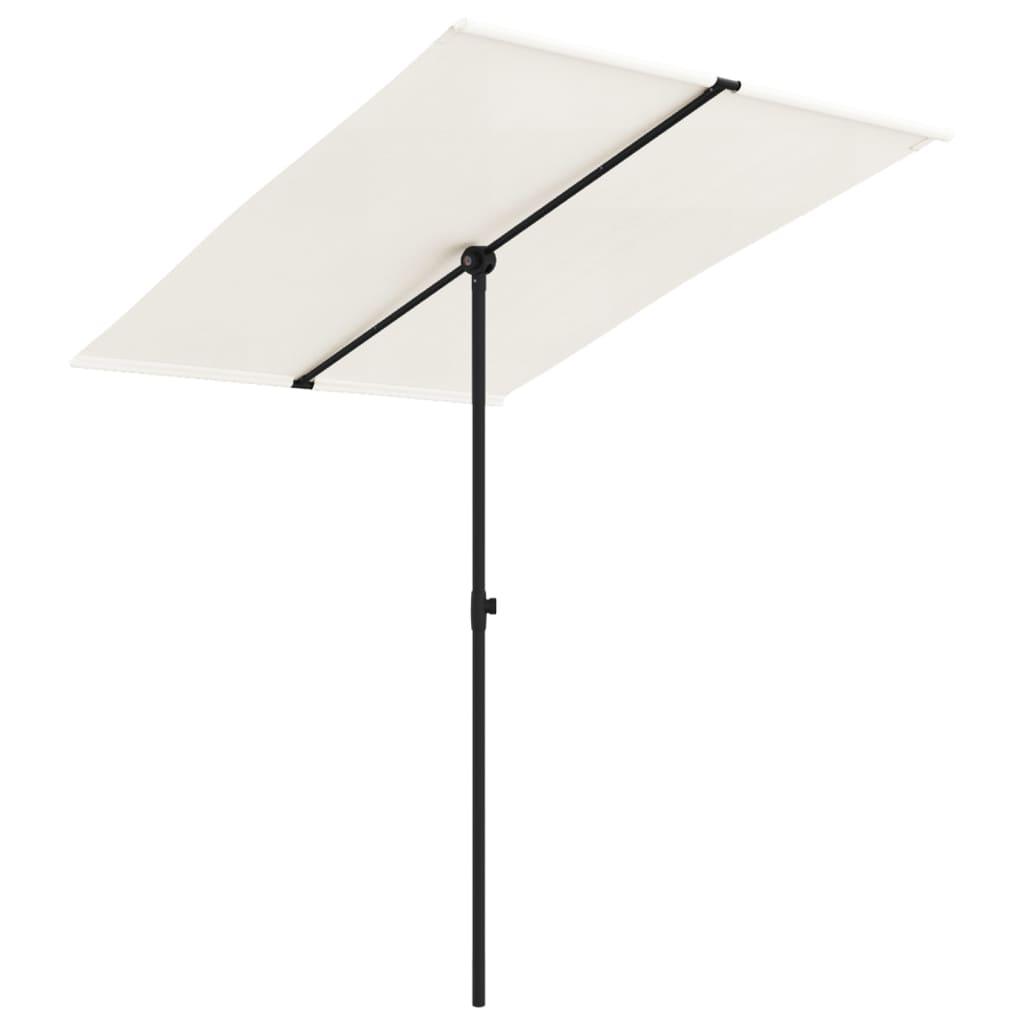 vidaXL Umbrelă de soare de grădină stâlp aluminiu alb nisipiu 2x1,5 m poza 2021 vidaXL