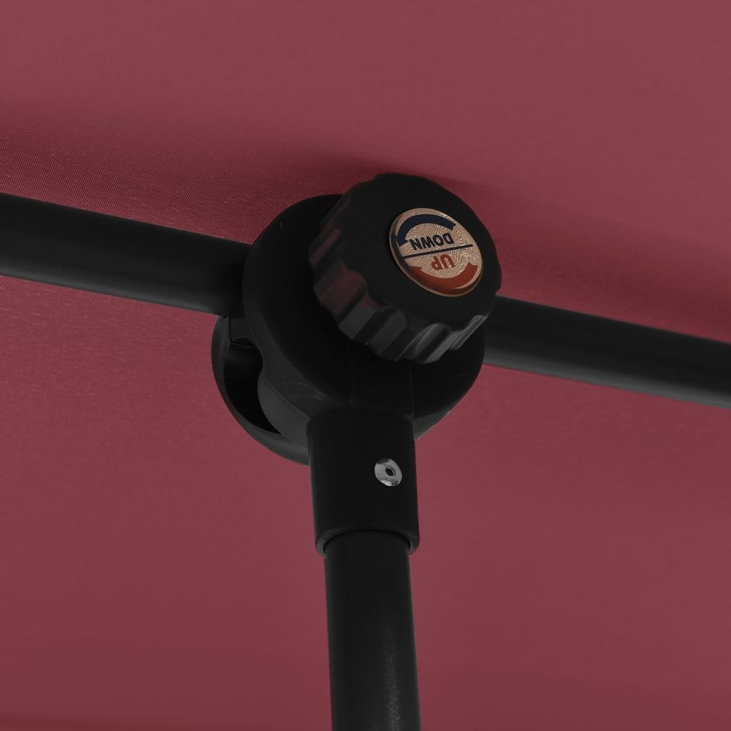 vidaXL Parasol met aluminium paal 2x1,5 m bordeauxrood