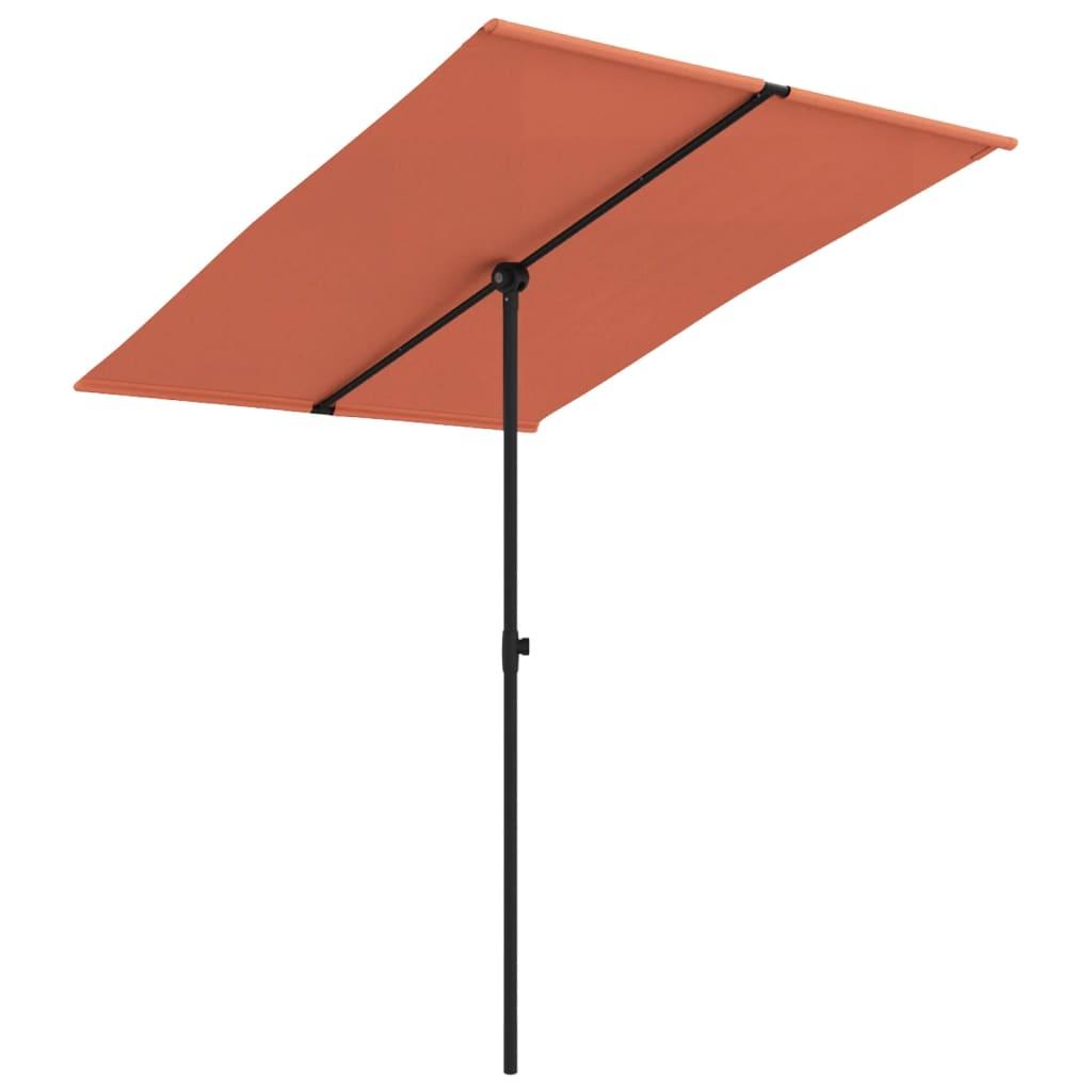 vidaXL Umbrelă de soare exterior, stâlp aluminiu, cărămiziu, 2x1,5 cm vidaxl.ro