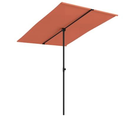 vidaXL Parasol met aluminium paal 2x1,5 m terracotta