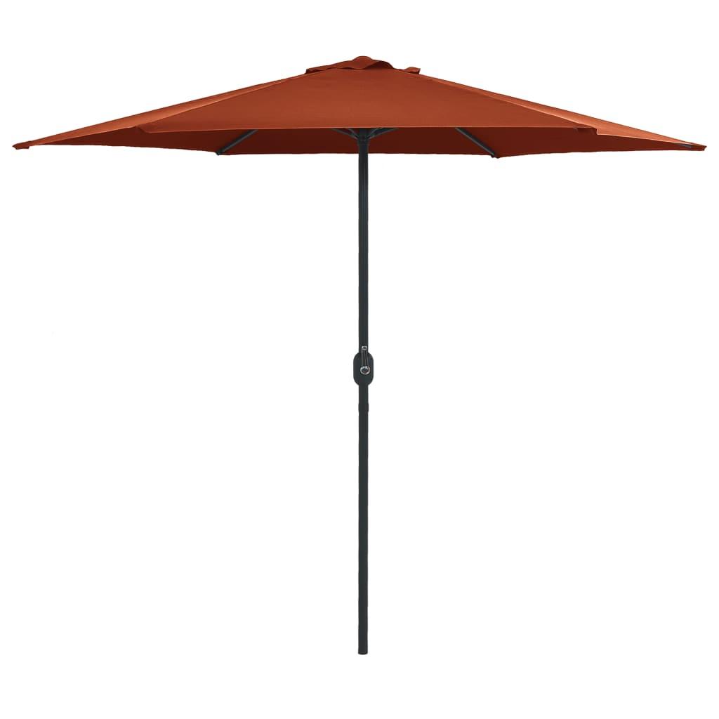 vidaXL Umbrelă de soare cu stâlp aluminiu, cărămiziu, 270 x 246 cm vidaxl.ro