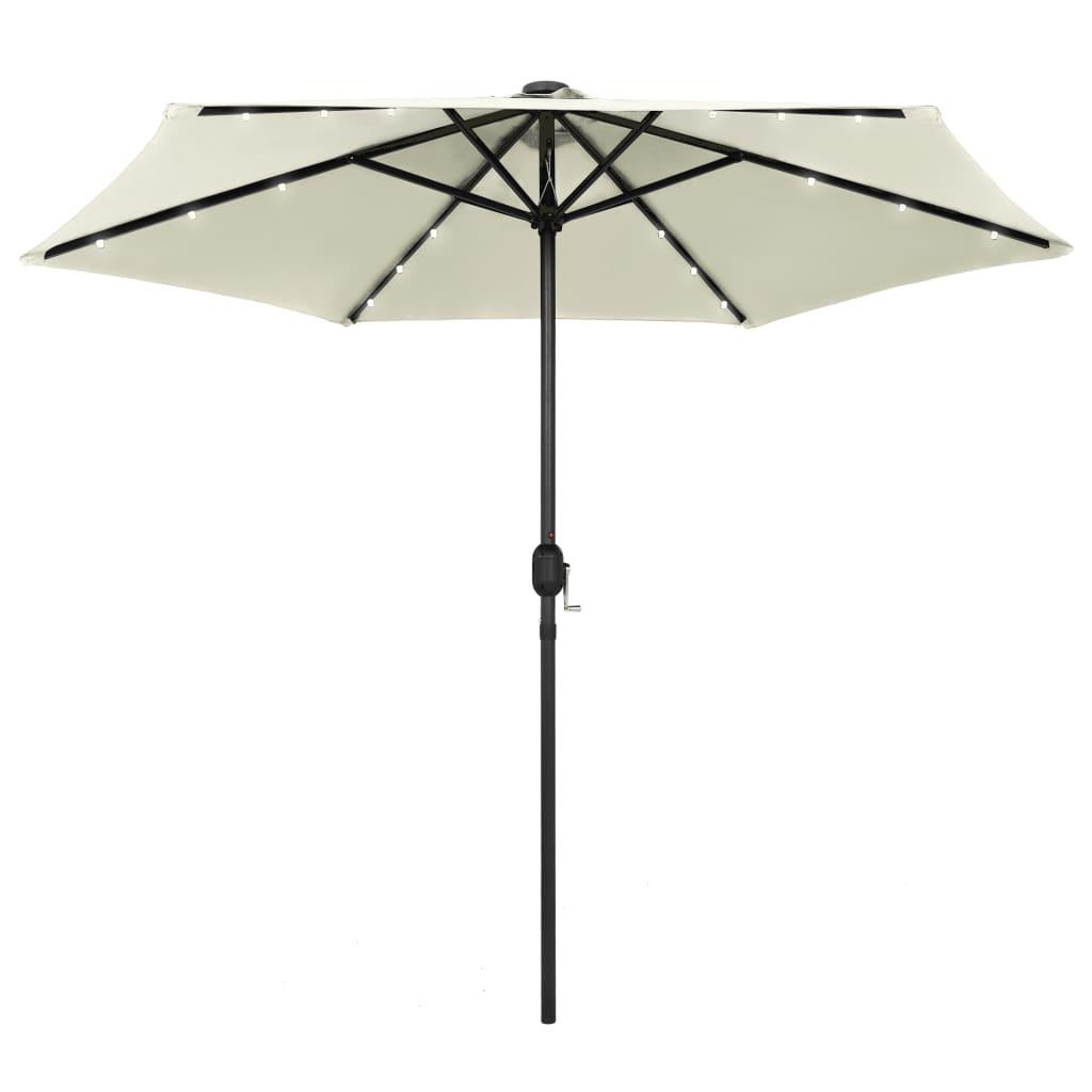 vidaXL Umbrelă de soare cu LED și stâlp aluminiu, alb nisipiu, 270 cm vidaxl.ro