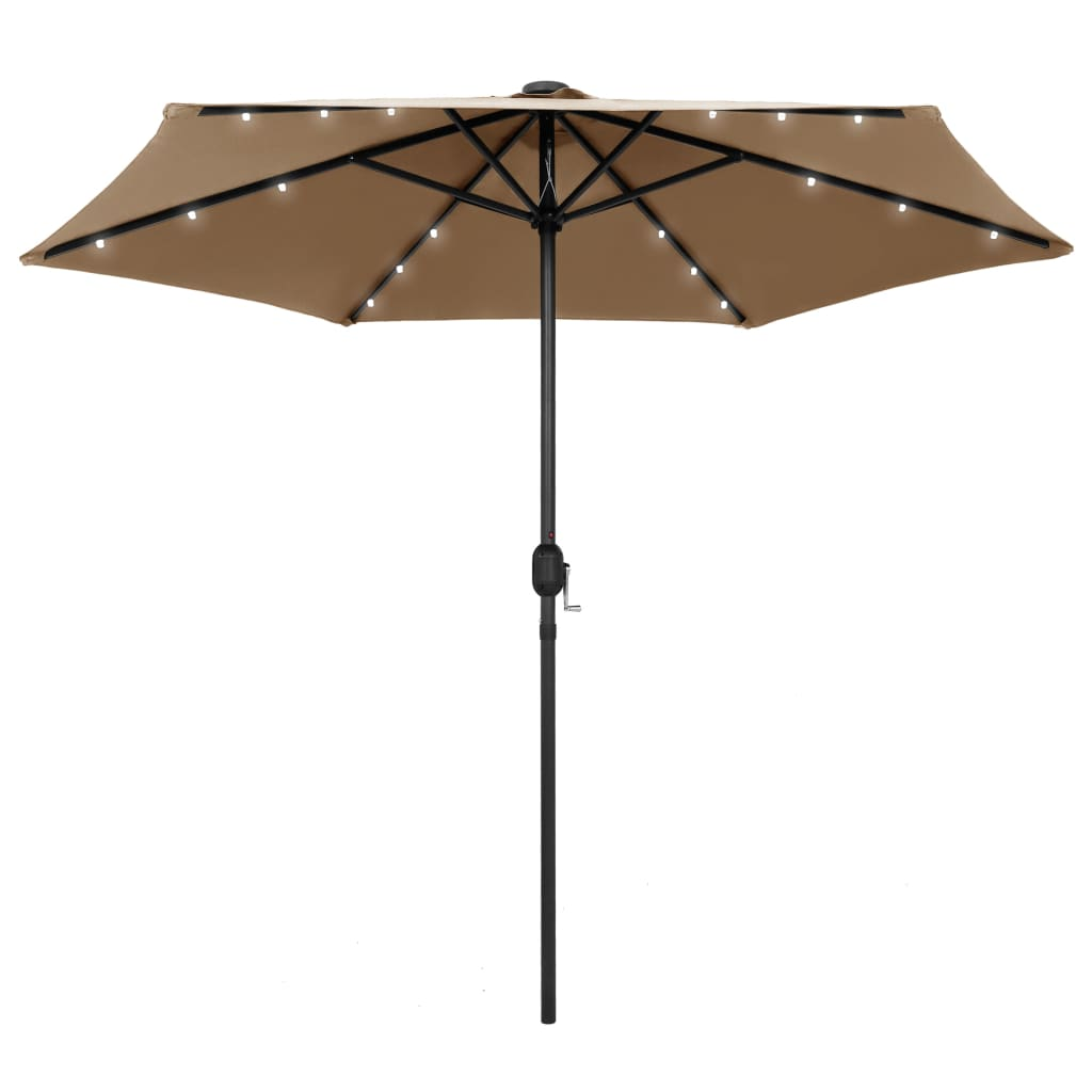 99947355 Sonnenschirm mit LED-Leuchten & Aluminium-Mast 270 cm Taupe