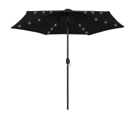 vidaXL Parasol met LED-verlichting en aluminium paal 270 cm zwart