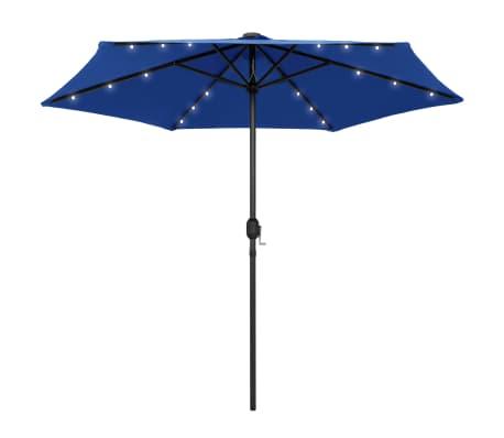 vidaXL Parasol met LED-verlichting en aluminium paal 270 cm azuurblauw