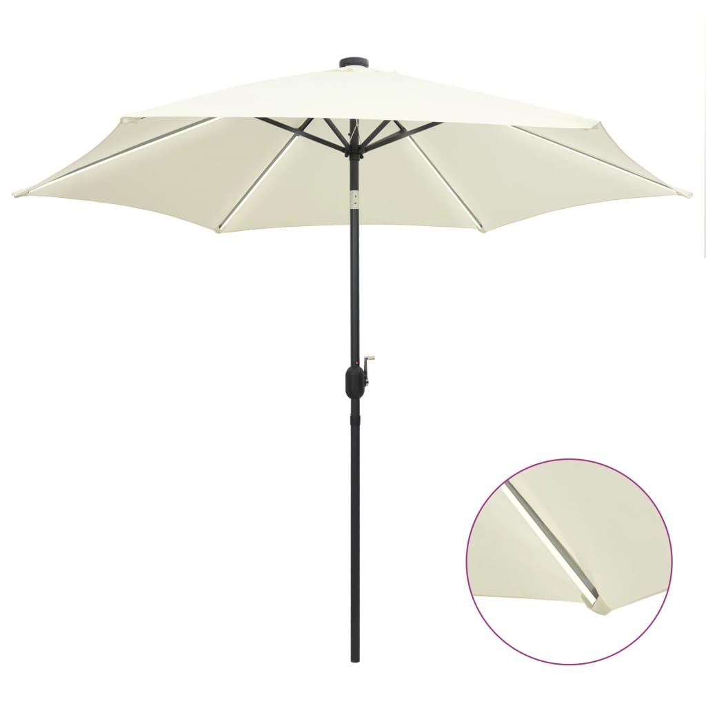 vidaXL Umbrelă de soare cu LED-uri, stâlp aluminiu alb nisipiu, 300 cm poza 2021 vidaXL