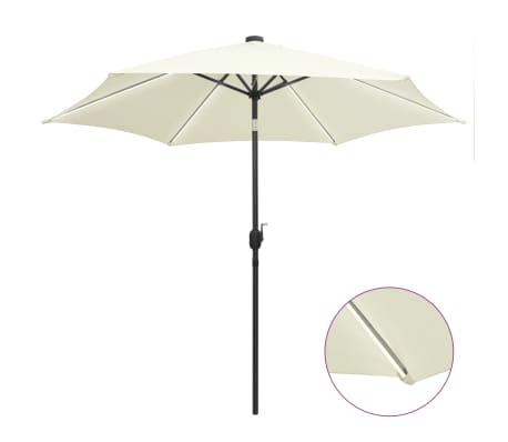 vidaXL Parasol met LED-verlichting en aluminium paal 300 cm zandwit
