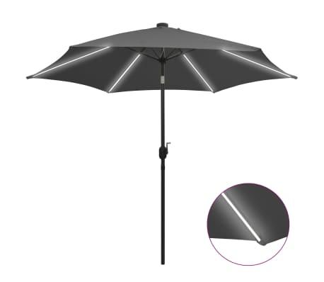vidaXL Parasol met LED-verlichting en aluminium paal 300 cm antraciet