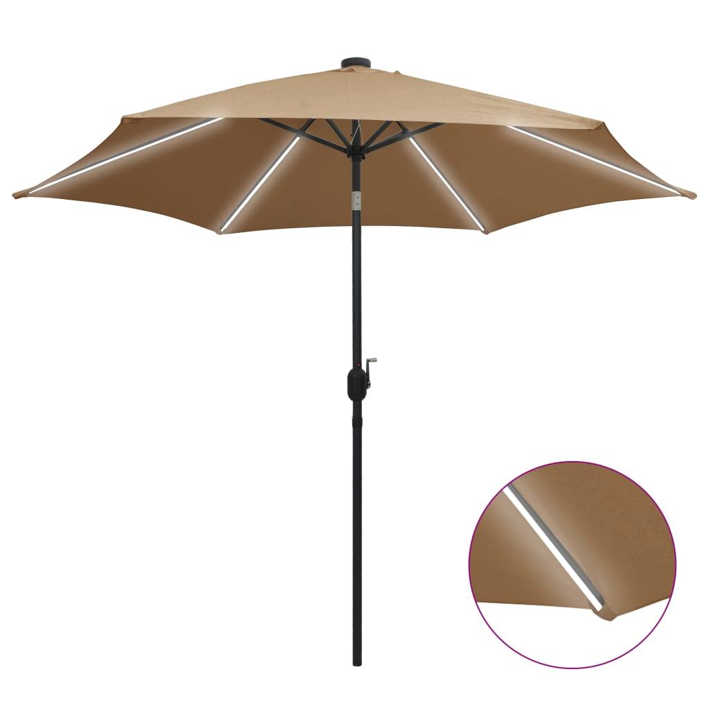 vidaXL Parasol met LED-verlichting en aluminium paal 300 cm taupe
