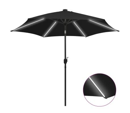 vidaXL Parasol met LED-verlichting en aluminium paal 300 cm zwart