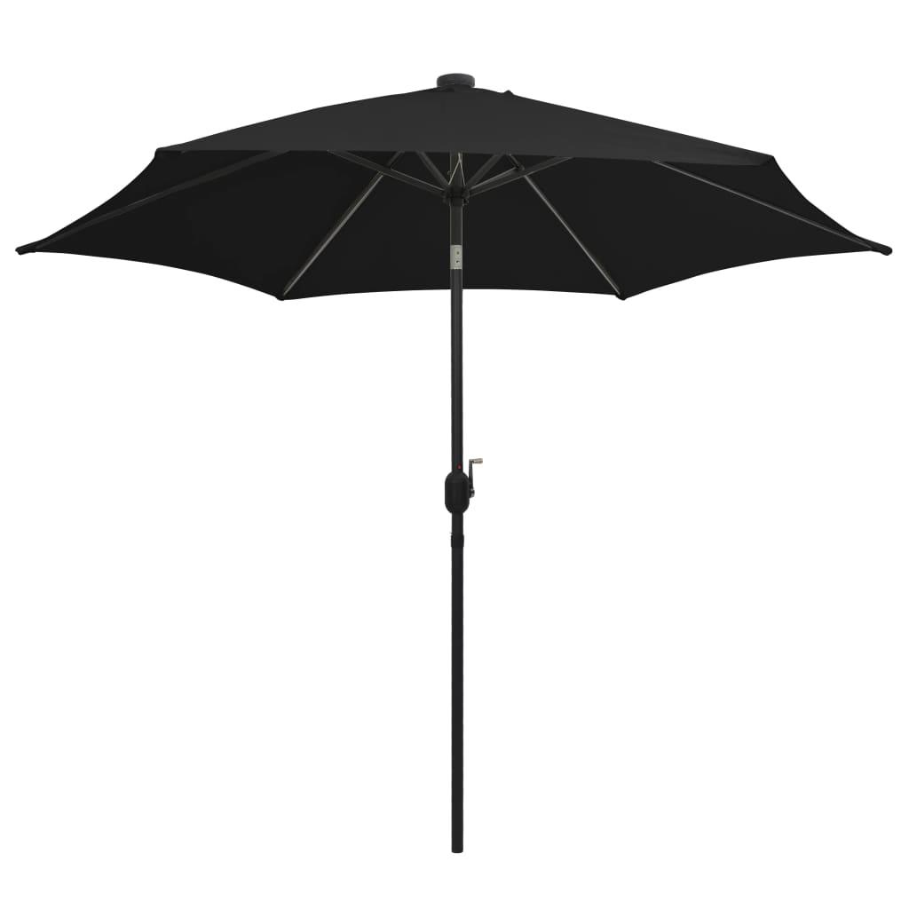 Parasol met LED-verlichting en aluminium paal 300 cm zwart