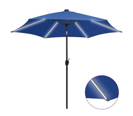 vidaXL Parasol met LED-verlichting en aluminium paal 300 cm azuurblauw