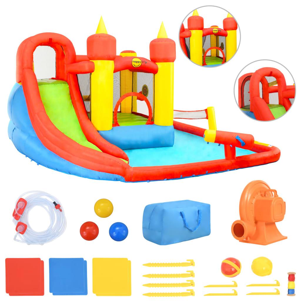 Happy Hop Saltea gonflabilă cu tobogan și piscină, 410x385x220 cm, PVC vidaxl.ro