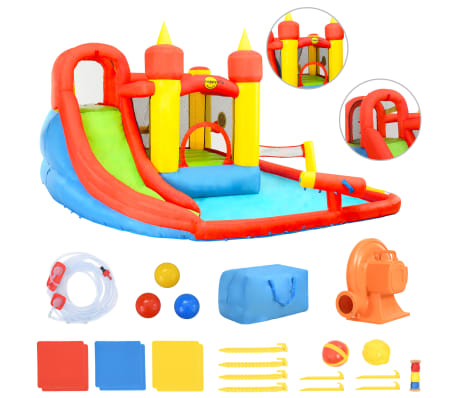 Happy Hop Castillo hinchable con tobogán y piscina 410x385x220 cm