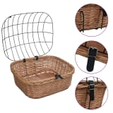 vidaXL Bike Front Basket with Cover 50x45x35 cm Natural Willow