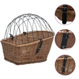 vidaXL Bike Rear Basket with Cover 55x31x36 cm Natural Willow