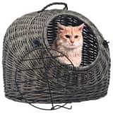 vidaXL Cat Transporter Grey 45x35x35 cm Natural Willow
