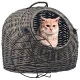 vidaXL Cat Transporter Grey 50x42x40 cm Natural Willow
