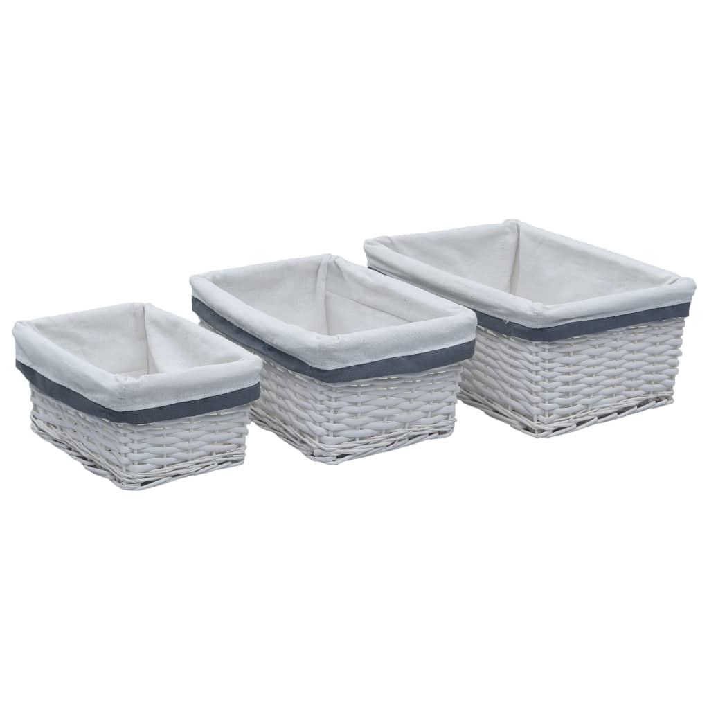 vidaXL 3dílná sada stohovatelných košíků bílá vrba
