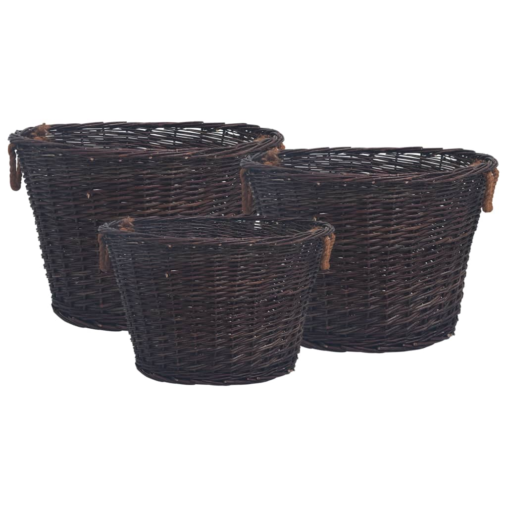 vidaXL Set coșuri pentru lemne de foc stivuibile, maro închis, răchită imagine vidaxl.ro